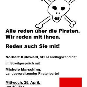 Am 25. April um 19 Uhr diskutieren Norbert Killewald (SPD) und Michele Marsching (Piraten) im Uedemer Bürgerhaus.