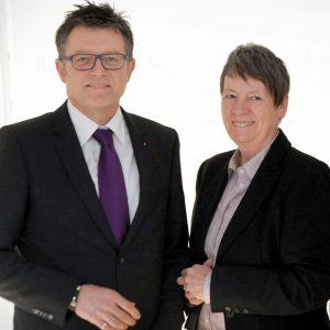 Jürgen Franken, Landratskandidat und Vorsitzender der SPD-Kreistagsfraktion, und Barbara Hendricks, Bundesumweltministerin und SPD-Bundestagsabgeordnete für den Kreis Kleve