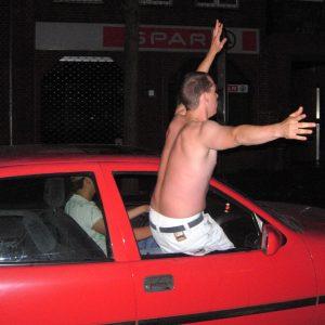 Autokorso nach dem Sieg im WM-Halbfinale