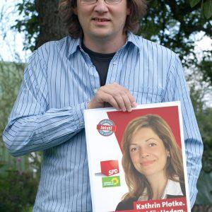 Rainer Weber aus Pfalzgrafenweiler unterstützt Kathrin Plotke im Wahlkampf.
